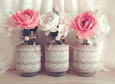burlap and lace covered 3 mason jar vases wedding decoration, bridal shower, engagement, anniversary party décor Wedding Table Centerpieces, Wedding Centerpieces, Wedding Decorations, Decor Wedding, Vase Decorations, Vintage Centerpieces, Table Wedding, Centerpiece Ideas, Rustic Wedding