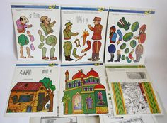 Very RARE Vintage Papercraft Set 6 by Kabanas Karagiozis New Shadow Theatre, Puppet Theatre, Antique Toys, Vintage Antiques, Stock Character, Shadow Puppets, Paper Toys, Jumping Jacks, Dolls
