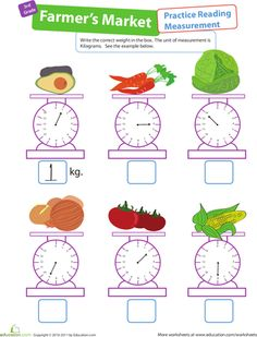 Take a trip to the Farmer's Market! Introduce your third grader to a common metric unit of measurement: kilograms. Volume Worksheets, Measurement Worksheets, 3rd Grade Math Worksheets, Third Grade Math, Worksheets For Kids, Math For Kids, Fun Math, Math Activities, Maths