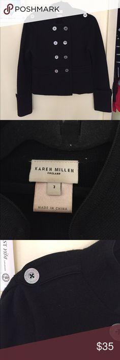 Used. Karen Millen. Black wool jacket Used. In very good condition. Black wool jacket. Fuax Military style. Perfect for fall Karen Millen Jackets & Coats