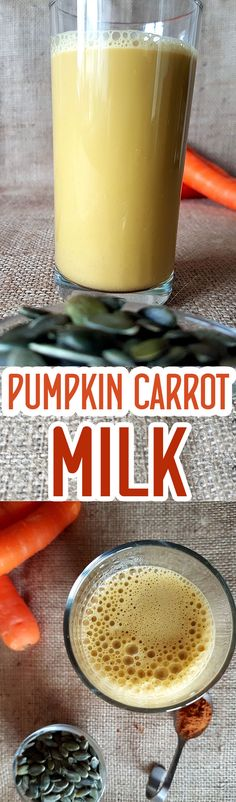 Pumpkin Carrot Seed milk with ginger and cinnamon - dairy and nut free milk via @nestandglow