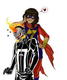 fyeahrobbiereyes: diedoodlesdie: We all know they would be besties <3 By; WakaXO Besties by WakaXO AWESOOOME! Ms. Marvel Kamala Khan and All-New Ghost Rider Robbie Reyes just hangin' out in this sweet fan art by WakaXO!
