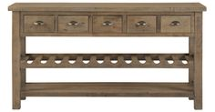 Fill your dining room with the beachside-inspired beauty of the Jaden light tone server. Constructed from reclaimed pine, this server features a plank-style tabletop, a built-in wine rack, and brass drawer pulls.