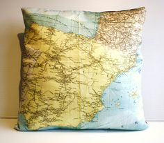 so cool - pillow cover with a map of spain! there are tons of other countries in their etsy shop.