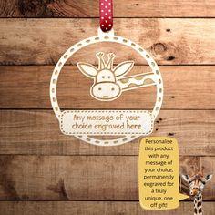Giraffe Personalised Wooden Keepsake Decoration Gift Birthday CUSTOM MADE