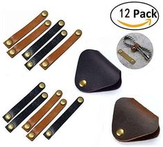 Leather Cable Organizer, Magnolora 12 Pack Snap Button Co...