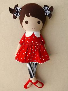 Fabric Doll Rag Doll Brown by roving ovine | Red polka dot dress with black and white leggings