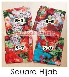 Square Hijab bahan katun polyester satuan IDR 35,000; IDR 100,000/3pcs; IDR 180,000/6pcs (bisa dicampur dengan pashmina import dan floral square)