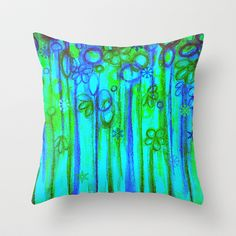 WINTER GARDEN -Bright Blue Green Neon Snowflake Floral Abstract Watercolor Painting and Digital Art Throw Pillow by EbiEmporium - $20.00