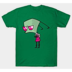 Invader Zim T-Shirt ($20) ❤ liked on Polyvore featuring tops, t-shirts, green t shirt, green tee and green top