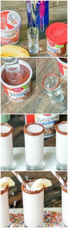 {Boozy} Banana Split Shooters: strawberry frozen yogurt + bananas + vodka + milk (or heavy cream) + @Beth J Nativ Nativ Nativ Nativ Nativ Nativ Rubin Crocker Chocolate Frosting