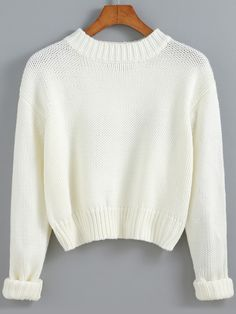 Shop White Round Neck Crop Knit Sweater online. SheIn offers White Round Neck Crop Knit Sweater & more to fit your fashionable needs.