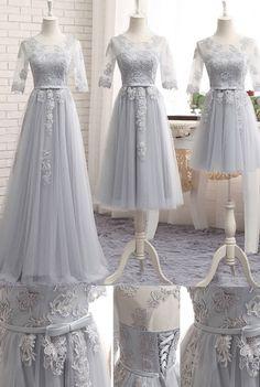 Silver Bridesmaid Dresses, Long Bridesmaid Dresses, Sexy Bridesmaid Dresses, Sexy Long Dresses, Long Sexy Dresses, Silver Long Dresses, Sleeves Bridesmaid Dresses, Applique Bridesmaid Dresses, Floor-length Bridesmaid Dresses