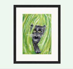 Black Cat Print, Black Cat Art, Black Cat Wall Art, Black Kitten Print, Cute Cat Picture, Cute Cat Print, Cute Kitten Art, Cute Kitten Print by NatalieHeavenArt on Etsy