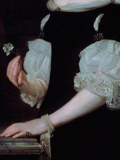 """ Portrait of a woman (detail), Abraham Lambertz van den Tempel, 1670 """