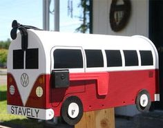 Awesome Volkswagen Red Volkswagen Bus Mailbox by TheBusBox Custom made VW - Choose your color - Spl. Baby Westy and other Volkswagen dreams Volkswagen Bus, Vw T1, Vw Camper, Volkswagen Beetles, Cool Mailboxes, Painted Mailboxes, Glamping, Mailbox Makeover, Gibraltar Mailboxes