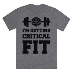"""Get your strength and dexterity stats up to as high as your D&D characters by working out at the gym in this nerd fitness design that says """"I'm Getting Critical Fit""""."""