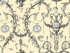 dining room? Neoclassic Urn Toile Wallpaper design by York Wallcoverings