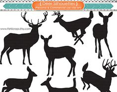 Deer Silhouettes & Outlines - Reindeer - Doe - Buck - Digital Graphics - Deer Clip Art - PNG Images and Photohshop Brushes - Christmas