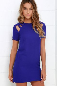 Lulus Exclusive! When you're on your way out the door and need the perfect dress for a busy day, you'll be grateful the Shoulder Shrug Royal Blue Shift Dress is in your closet! Textured woven fabric falls from a rounded neckline into unique caged shoulders and short sleeves. Darted bodice has a straight cut that extends into a classic shift silhouette. Hidden back zipper and dual clasps.
