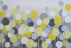 Yellow and Grey Textured Flower Art Large por MurrayDesignShop