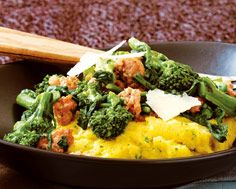 Polenta with Sausage and Rapini, from Food & Drink....more and more I come to love polenta for the same reasons I love mashed potato - warm, filling, robust and a beautiful vehicle to add a dash of flavour - which this dish does well.
