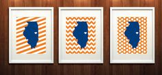 Urbana-Campaign Illinois State Set of Three Giclée Prints by PaintedPost, $37.00 #paintedpoststudio - University of Illinois - Illinois Fighting Illini - Illinois State Map- What a great and memorable gift for graduation, sorority, hostess, and best friend gifts! Also perfect for dorm decor! :)