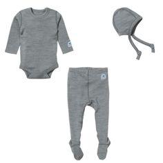 Ella's Wool Baby Base Layer Set w/Hat (Marl-Gray, 3-6M)