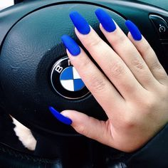 Royal Colbalt Blue Matt Nails Dope Hot BMW Car Steering Wheel Laytrel McMullen MissLaytrel