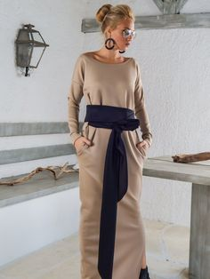 Scuba Neoprene Maxi Dress Kaftan with Belt and by SynthiaCouture