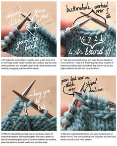 One row buttonholes This is the method I use for all buttonholes except the very tiny, where some form of eyelet is more appropriate.