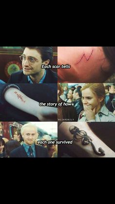 "I hate how the movie left out Ron's scars and invented one for Hermione. Ron's arms were badly scarred from the brains in OotP and being splinched in DH. Hermione has a scar on her throat where Bellatrix cut her, but never had the word ""mudblood"" carved into her arm."
