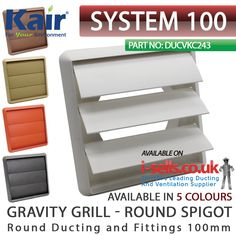 DUCTING Fitting by KAIR Ventilation 5 INCH Round 125MM Beige Gravity Grille Vent with Non Return Shutter Flaps