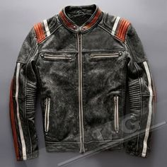 Men-039-s-Vintage-Motorcycle-Cafe-Racer-Biker-Retro-Moto-Distressed-Leather-Jacket