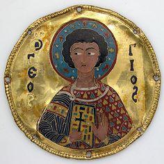 Medallion with Saint George From an Icon Frame  Byzantine (c. 1100)  Cloisonné enamel, gold, D. 8.3 cm.  The Metropolitan Museum of Art