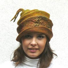 Nuno felted hat wool and silk - warm autumn colors.