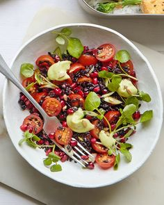 Whip up this vegan black rice salad in just 20 minutes and enjoy as a nutritious summer side or wholesome lunch at work the next day. Lunch Recipes, Salad Recipes, Healthy Recipes, Tahini, Black Rice Salad, Salad Sauce, Delicious Magazine, Vegan Nutrition, Food For Thought