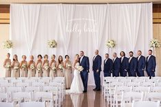 Navy Blue and Champagne Winter Wedding Color Inspiration: White bride gown, champagne bridesmaid dresses and navy blue scarfs, navy blue groom and groomsmen suits with champagne ties… Champagne And Blue Wedding, Champagne Bridesmaid Dresses, Navy Blue And Gold Wedding, Gold Champagne, Bridesmaids, White Gold, Champagne Color, Wedding Dresses, Winter Wedding Colors