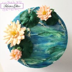 """Waterlilies"" Buttercream Artistry by Kerrie Wyer, inspired by Monet's Waterlilies."