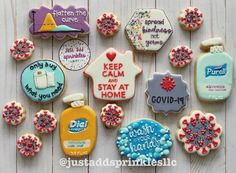 Finally, a PSA that's easy to swallow. (Yes those are cookies! Nurse Cookies, Iced Cookies, Easter Cookies, Royal Icing Cookies, Sugar Cookies, Christmas Cookies, Halloween Treats, Halloween Decorations, Cookie Designs