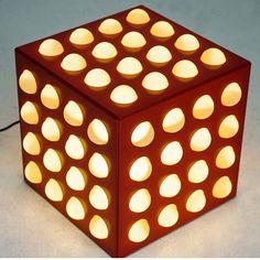 Tavolino puff luminoso in legno e tessuto  #table #pouff #light #lighted #design #vintage #spazio900design #cool #nofilter #interiordesign #90s #wood #fabric #modernism #bright #lamp #pouf