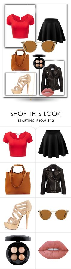 """""""Classy"""" by nijie ❤ liked on Polyvore featuring J.TOMSON, Anine Bing, Oliver Peoples, MAC Cosmetics and Lime Crime"""