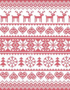 Winter, Christmas red seamless pixelated pattern with deer stock vector Cross Stitch Borders, Cross Stitch Charts, Cross Stitching, Cross Stitch Embroidery, Embroidery Patterns, Cross Stitch Patterns, Fair Isle Knitting Patterns, Christmas Knitting Patterns, Knitting Charts