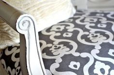 Moroccan Style White and Grey Upholstered Chair Idea