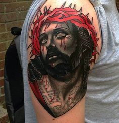 Traditional Tattoo Jesus, Traditional Tattoo Painting, Traditional Tattoo Design, Traditional Tattoos, Jesus Tattoo Design, Angel Tattoo Designs, Tattoo Designs And Meanings, Upper Arm Tattoos, Arm Tattoos For Guys