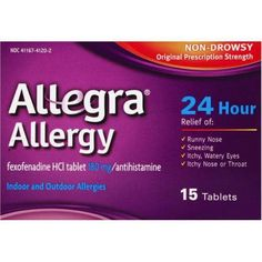 Allegra 24 Hour Non-Drowsy Indoor and Outdoor Allergy Relief Tablets 15ct, Multicolor