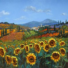 Italian Landscape Paintings - Tuscan Sunflowers by Chris Mc Morrow
