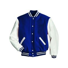 High School Jacketsbaseball Football Jackets Items Varsity... ($150) ❤ liked on Polyvore featuring outerwear, jackets, sweaters, tops and blue jackets
