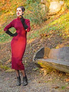 RetroCat wearing a knitted dress in burgundy