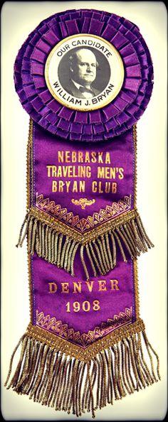 1908 Democratic Convention Badge. - #history #politics